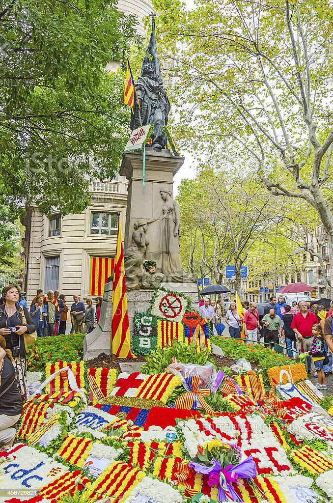 National Day of Catalonia in Barcelona royalty-free stock photo