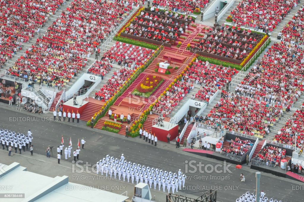 National Day Parade Rehearsal in Singapore stock photo