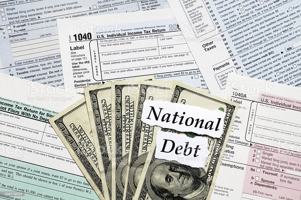 National Debt Tax Forms royalty-free stock photo