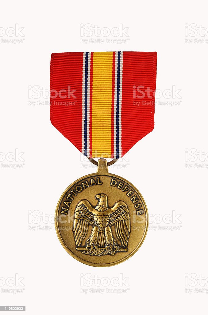 National defense service medal stock photo