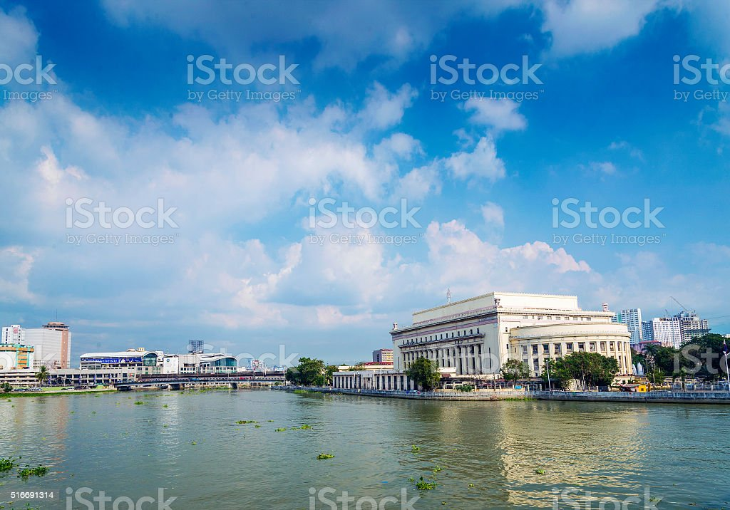national filipino post office by river in downtown manila  philippines stock photo
