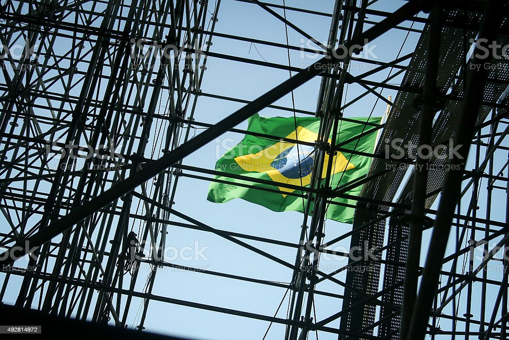 National flag at a construction site in Brazil stock photo