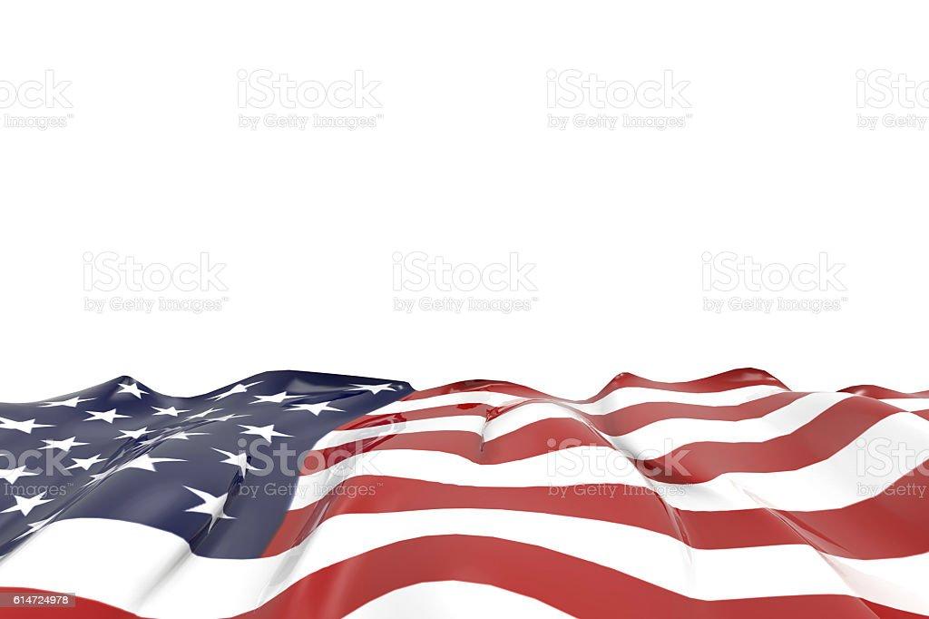 USA national flag Closeup on isolated Background stock photo