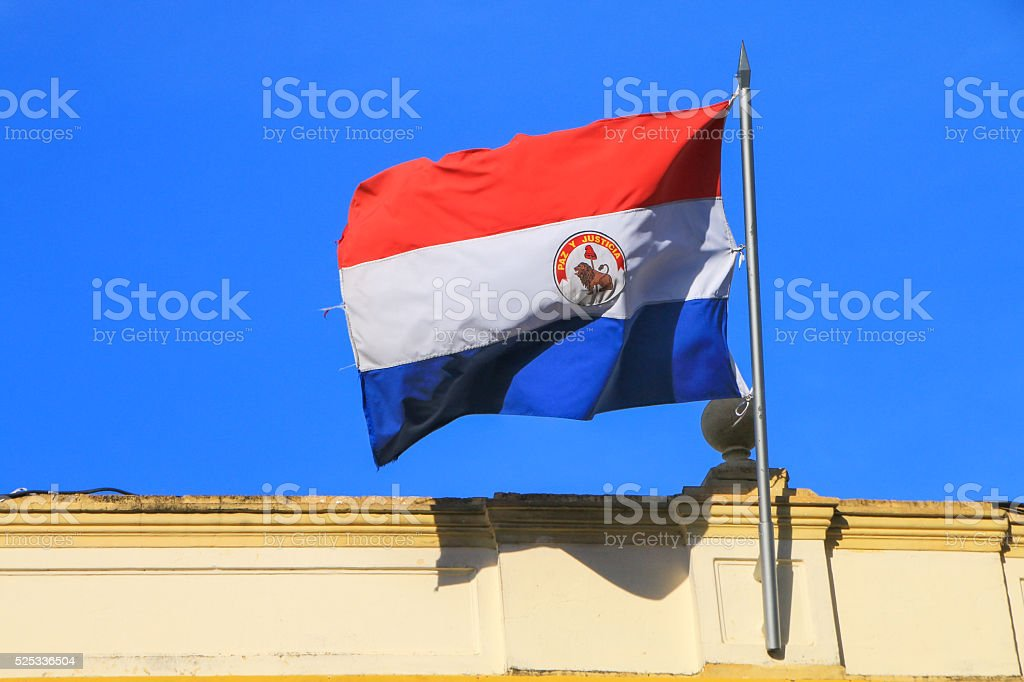 National flag flying above building in Asuncion, Paraguay stock photo