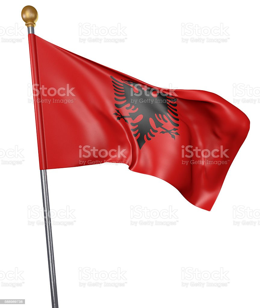 National flag for country of Albania isolated on white background stock photo