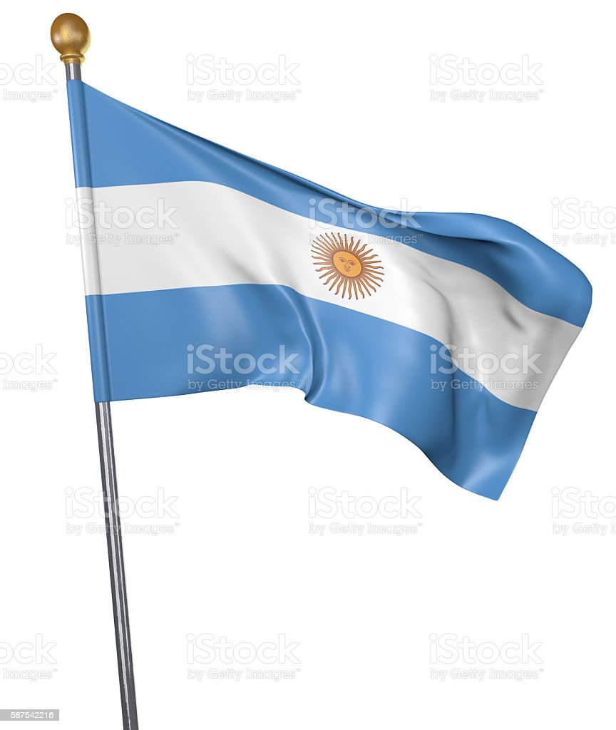 National flag for country of Argentina isolated on white background stock photo