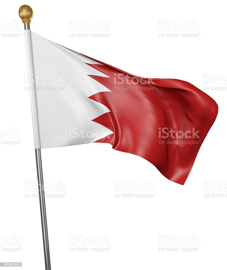 National flag for country of Bahrain isolated on white background stock photo