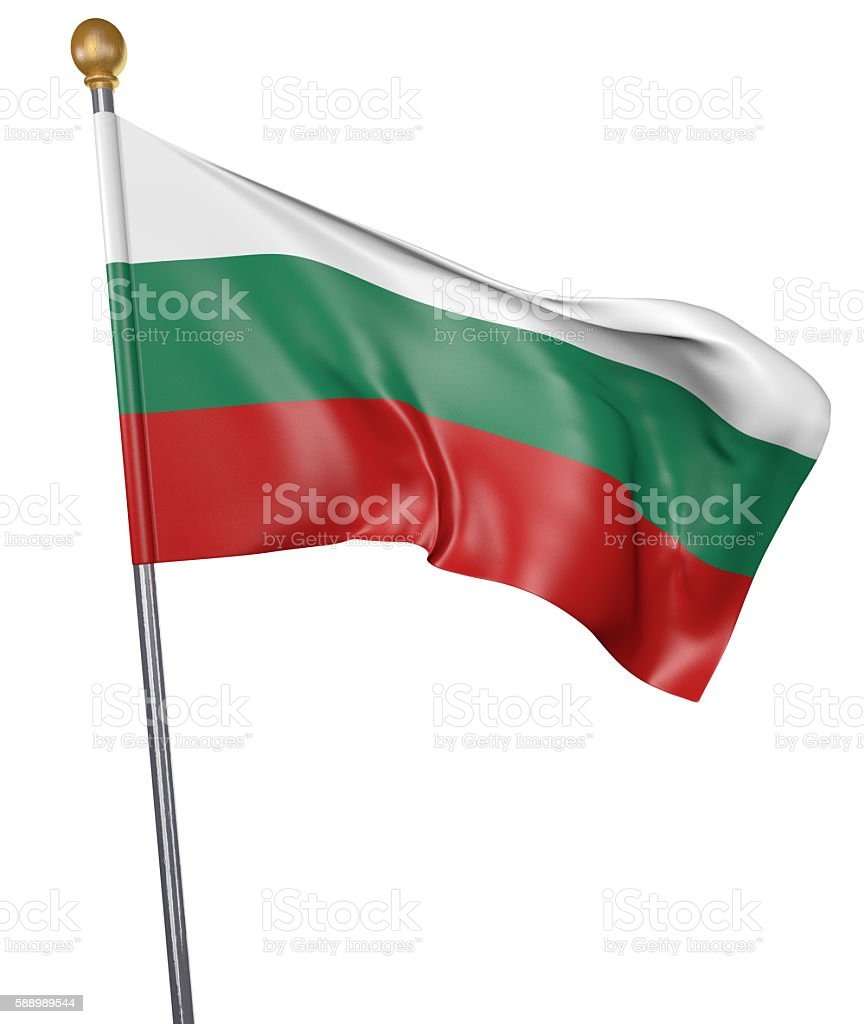 National flag for country of Bulgaria isolated on white background stock photo