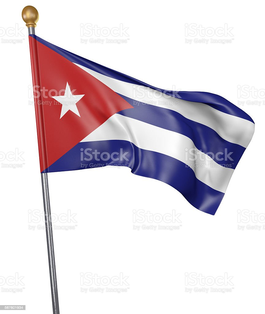 National flag for country of Cuba isolated on white background stock photo