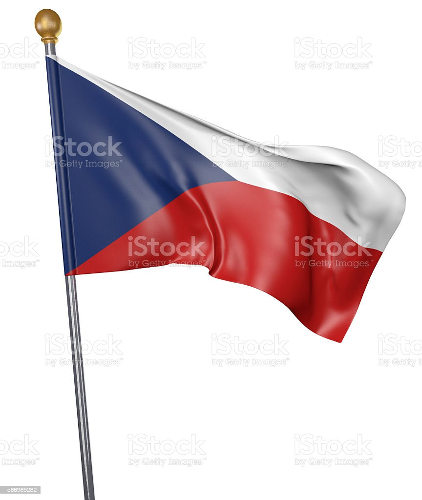 National flag for country of Czech Republic isolated on white stock photo