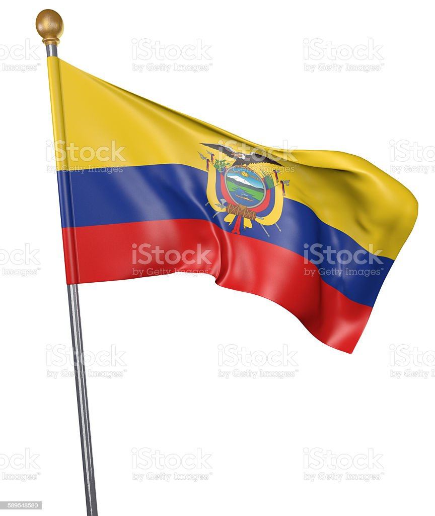 National flag for country of Ecuador isolated on white background stock photo
