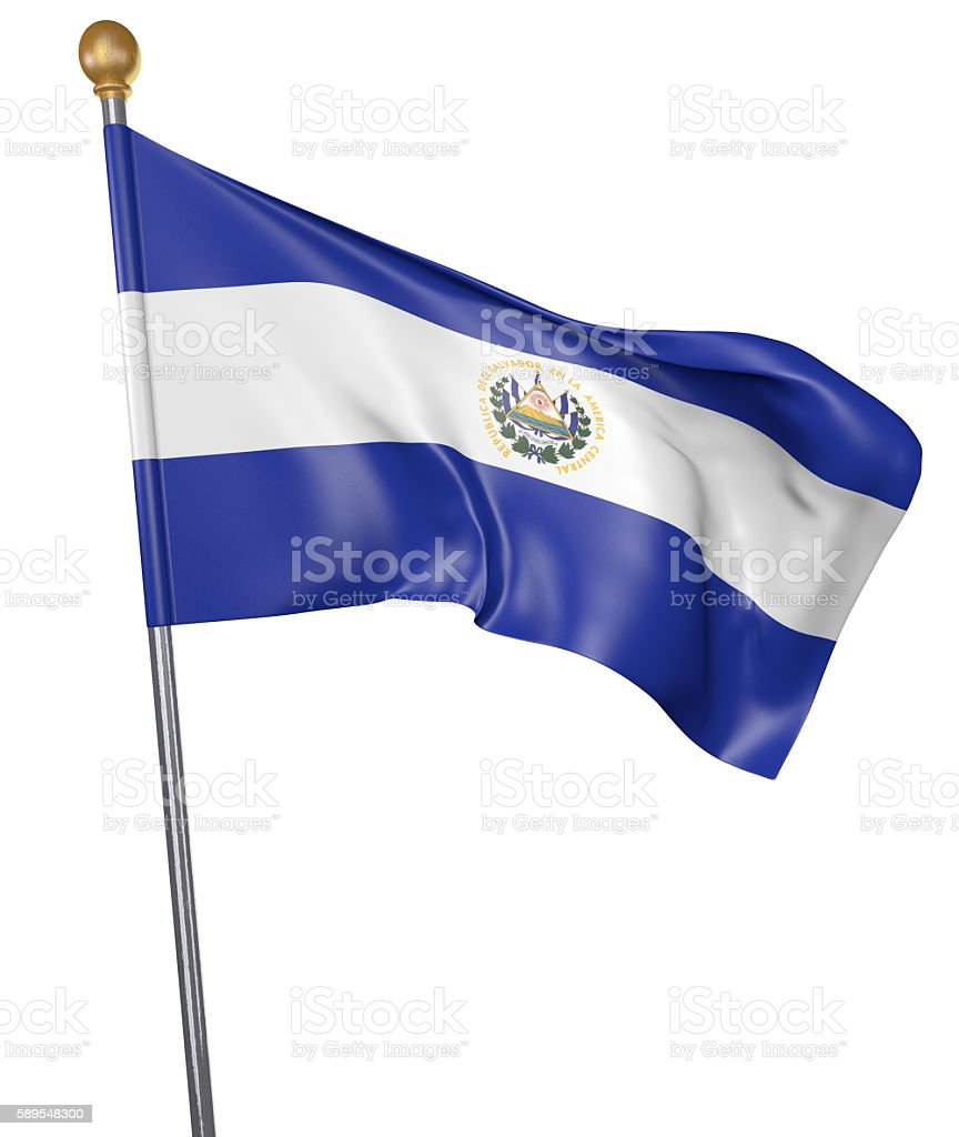 National flag for country of El Salvador isolated on white stock photo