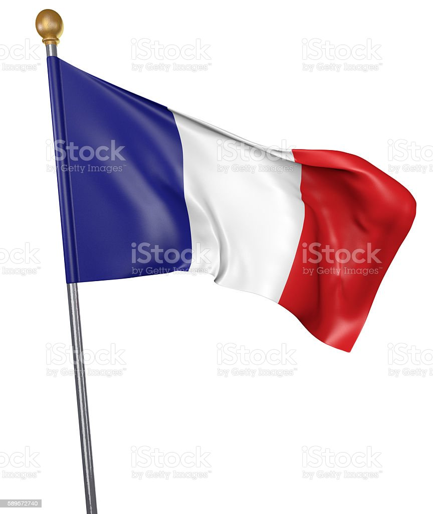 National flag for country of France isolated on white background stock photo