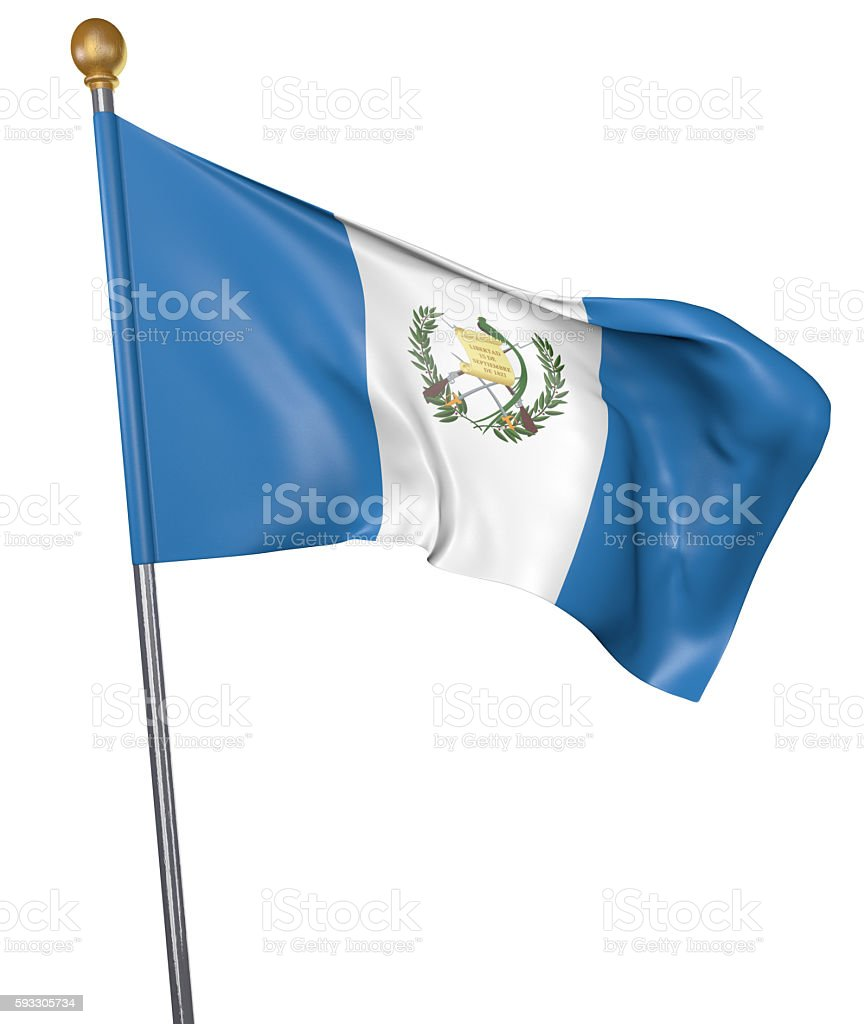 National flag for country of Guatemala isolated on white background stock photo