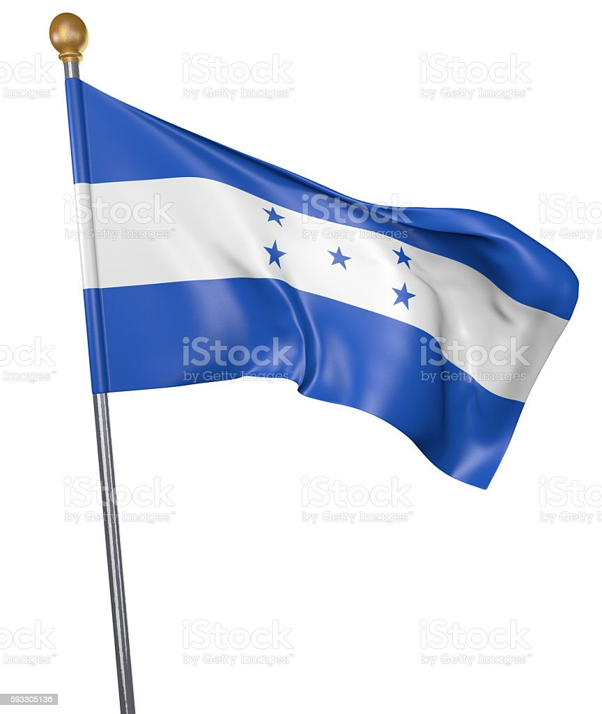 National flag for country of Honduras isolated on white background stock photo