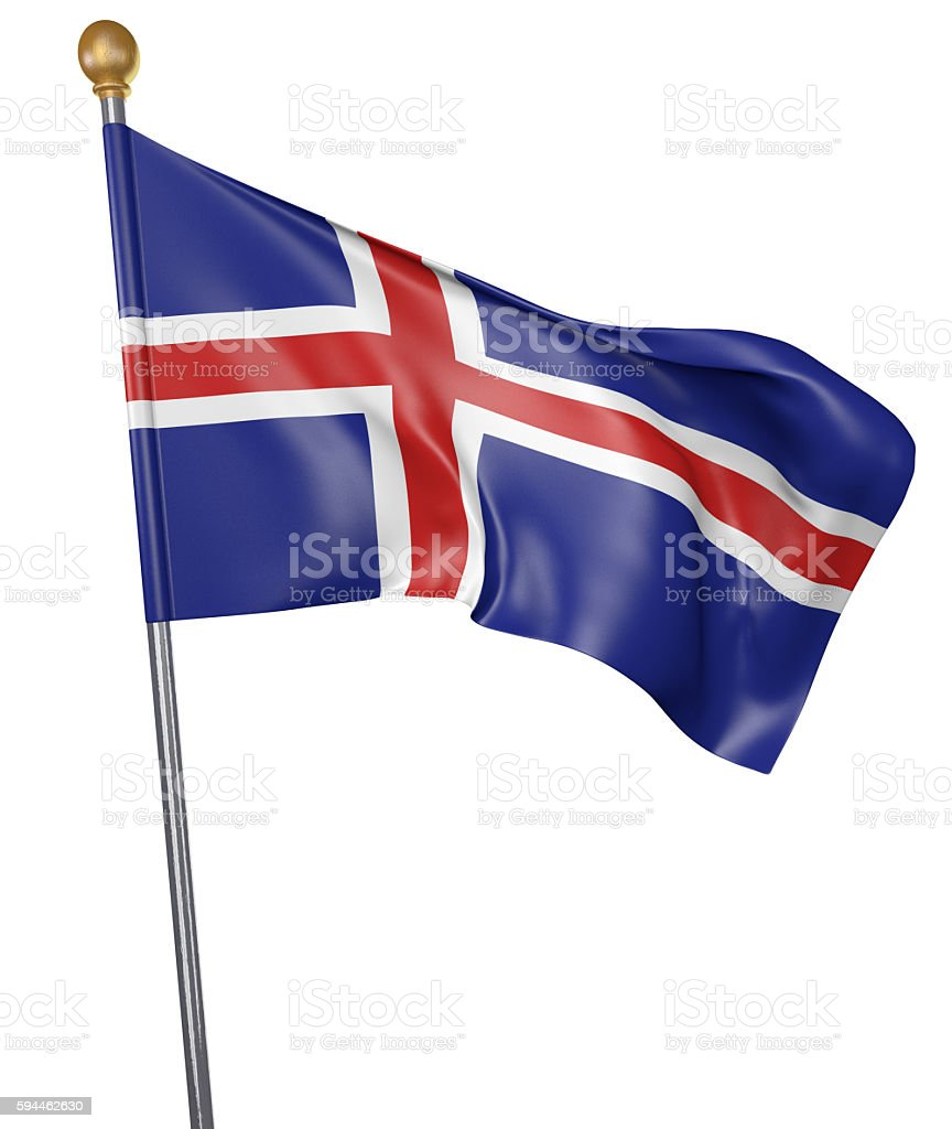 National flag for country of Iceland isolated on white background stock photo