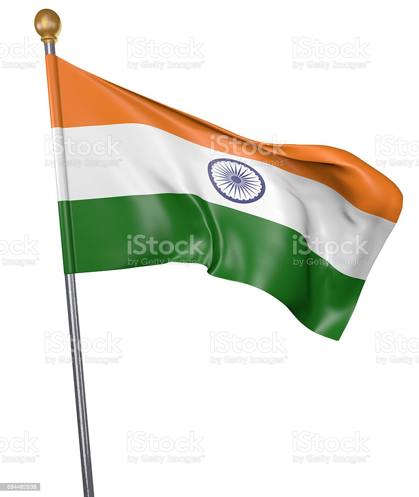 National flag for country of India isolated on white background stock photo