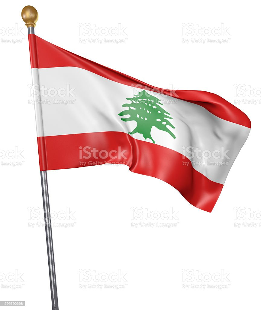 National flag for country of Lebanon isolated on white background stock photo