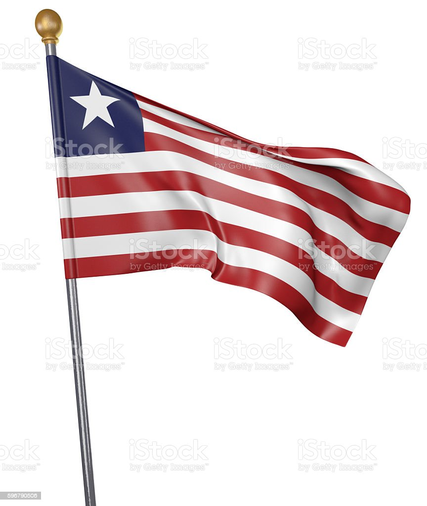 National flag for country of Liberia isolated on white background stock photo