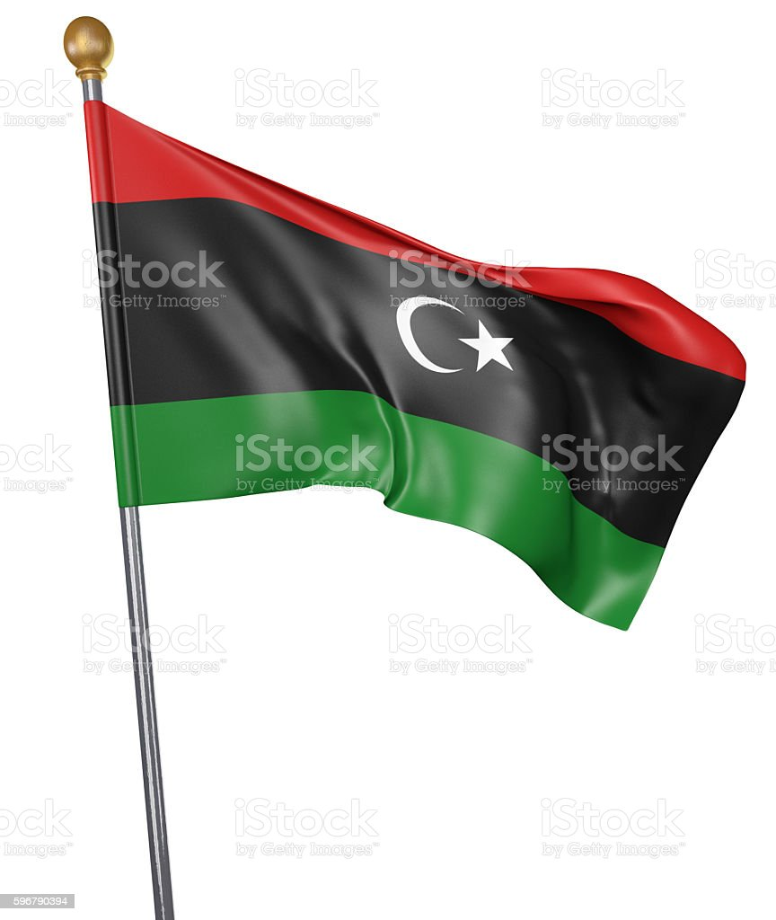 National flag for country of Libya isolated on white background stock photo