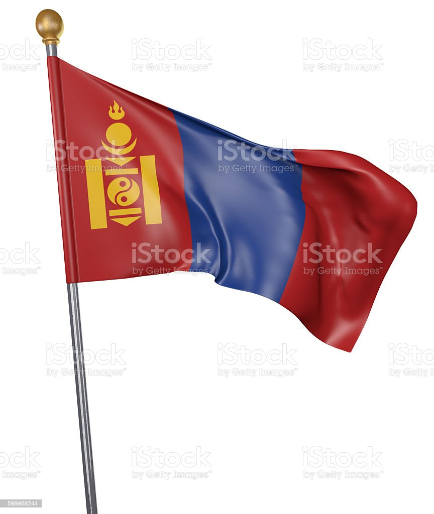 National flag for country of Mongolia isolated on white background stock photo