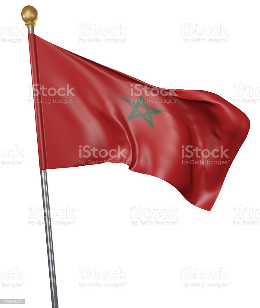 National flag for country of Morocco isolated on white background stock photo