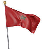 National flag for country of Morocco isolated on white background