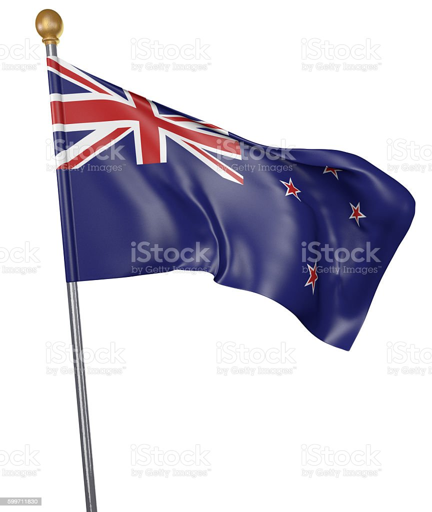 National flag for country of New Zealand isolated on white stock photo