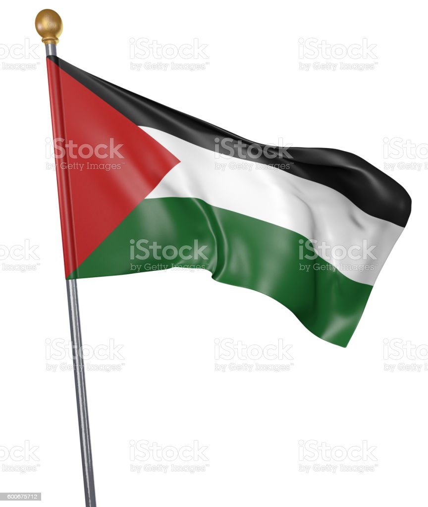National flag for country of Palestine isolated on white background stock photo