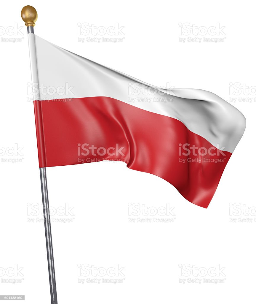 National flag for country of Poland isolated on white background stock photo