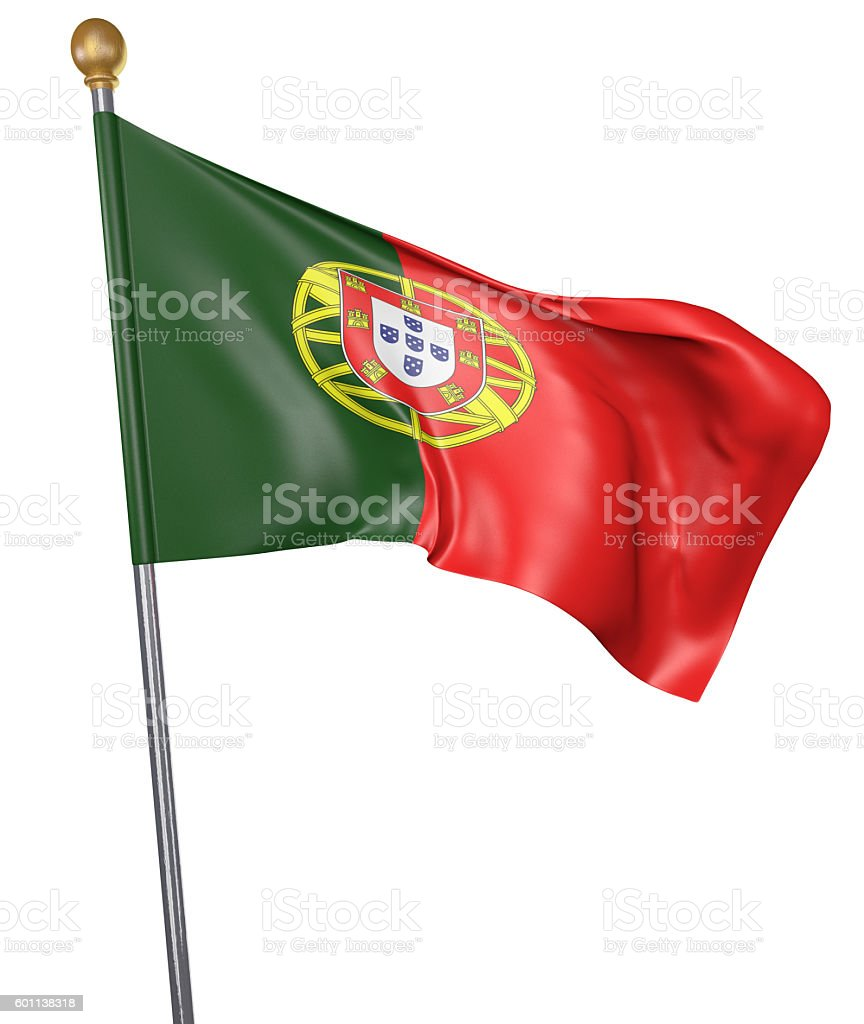 National flag for country of Portugal isolated on white background stock photo