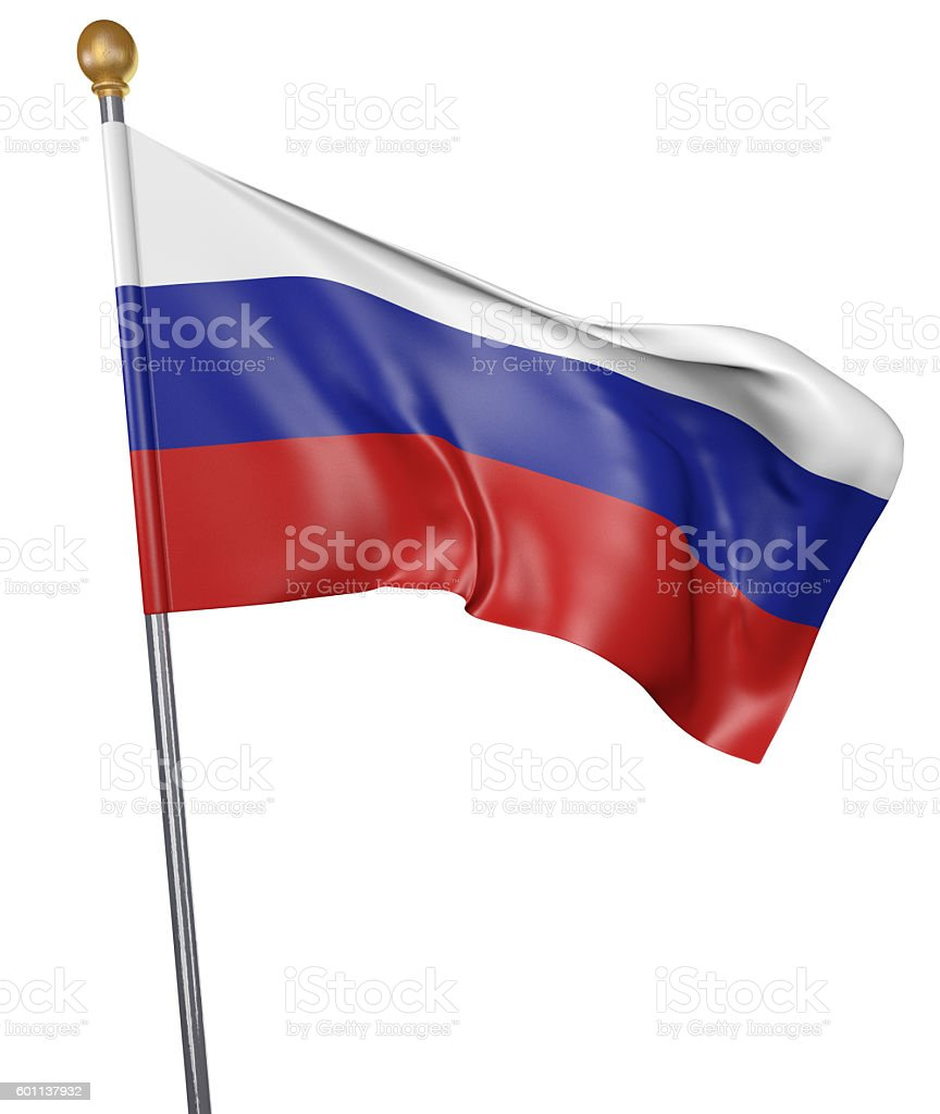 National flag for country of Russia isolated on white background stock photo