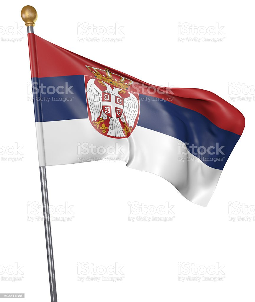 National flag for country of Serbia isolated on white background stock photo