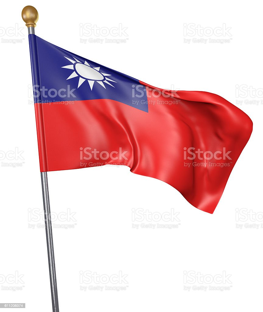 National flag for country of Taiwan isolated on white background stock photo