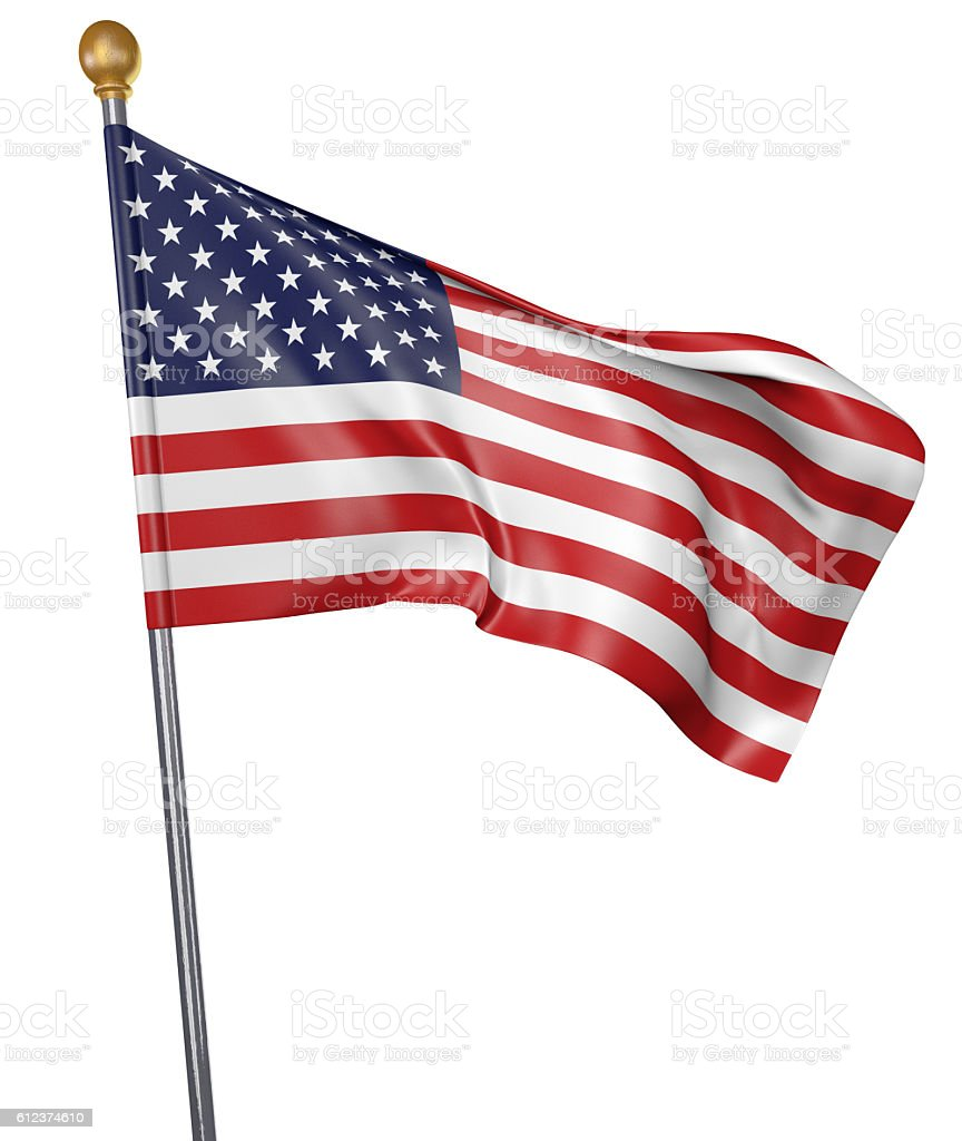 National flag for country of United States isolated on white stock photo