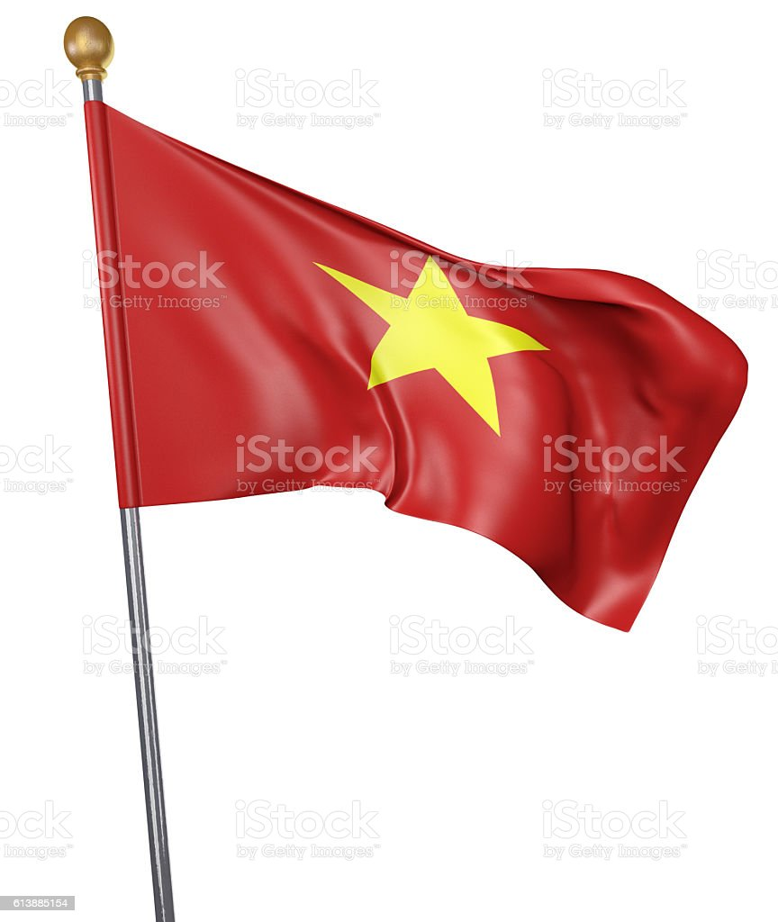 National flag for country of Vietnam isolated on white stock photo