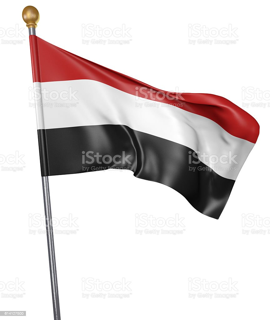 National flag for country of Yemen isolated on white stock photo