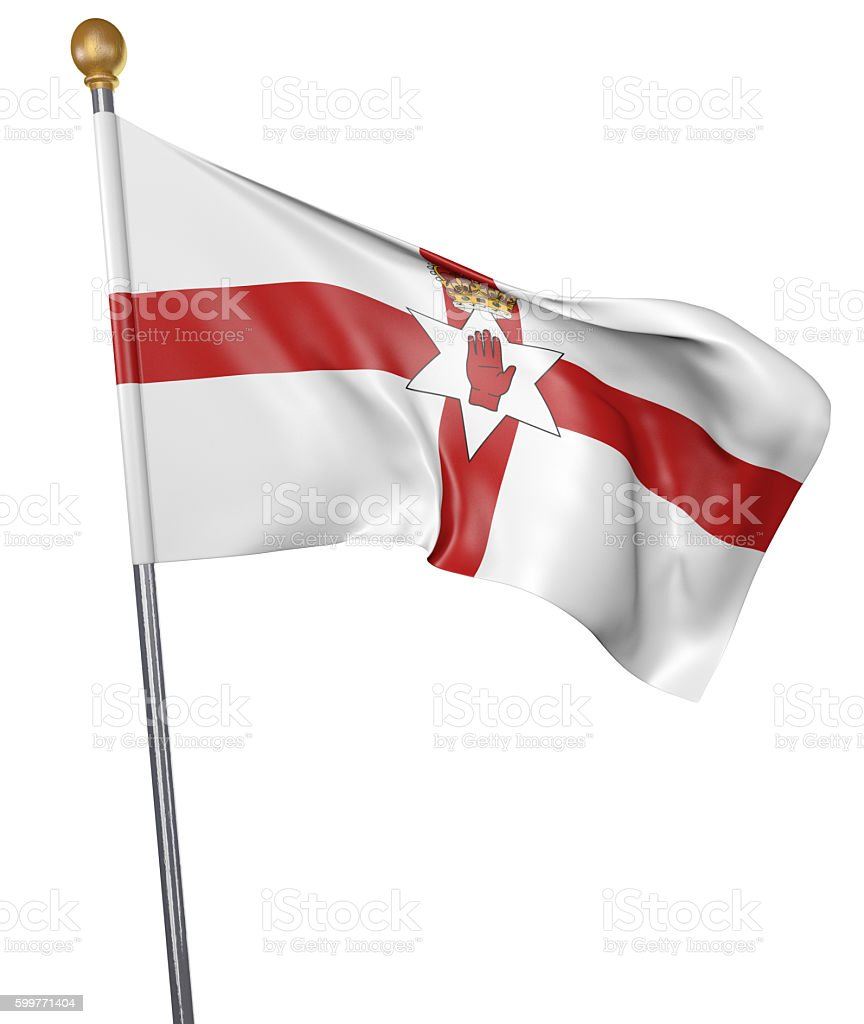 National flag for Northern Ireland isolated on white background stock photo