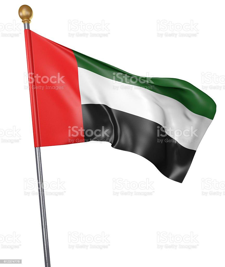 National flag for United Arab Emirates isolated on white background stock photo