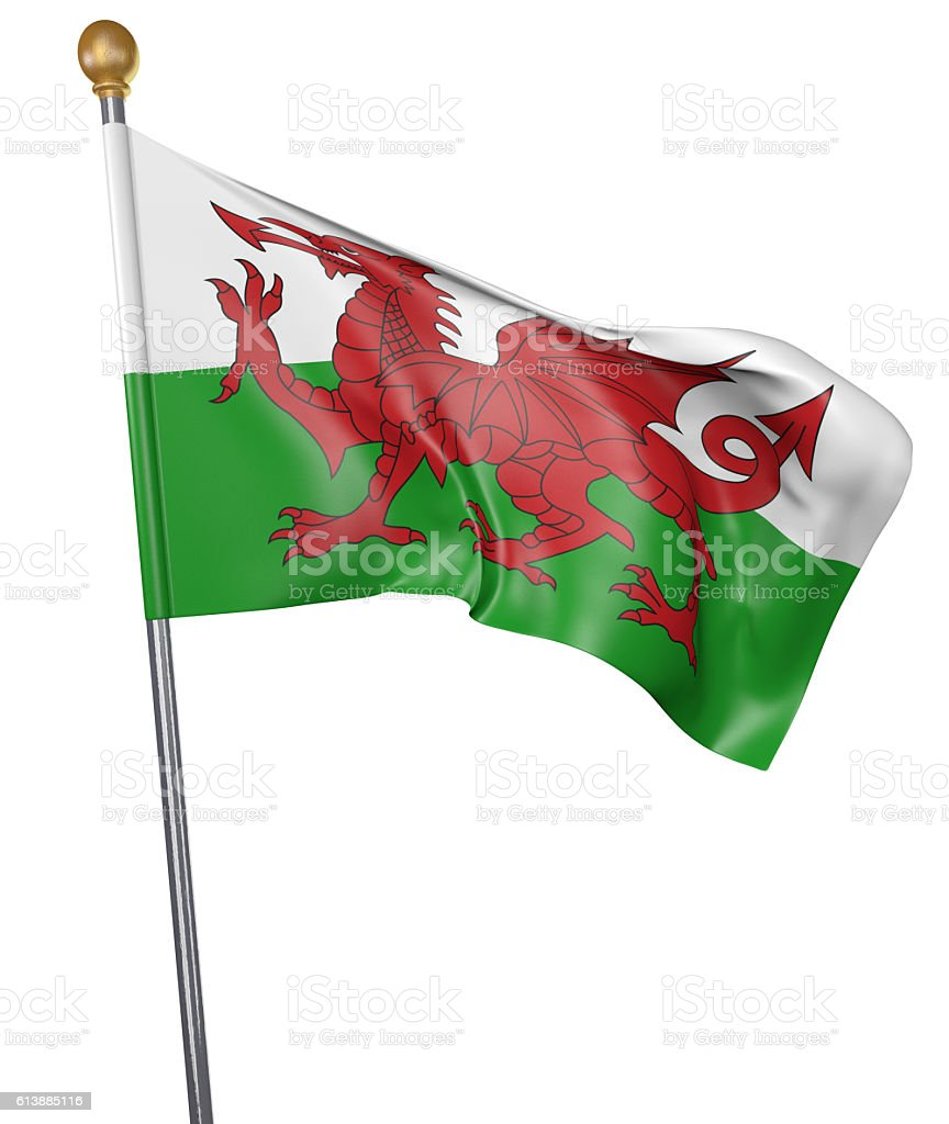 National flag for Wales isolated on white stock photo
