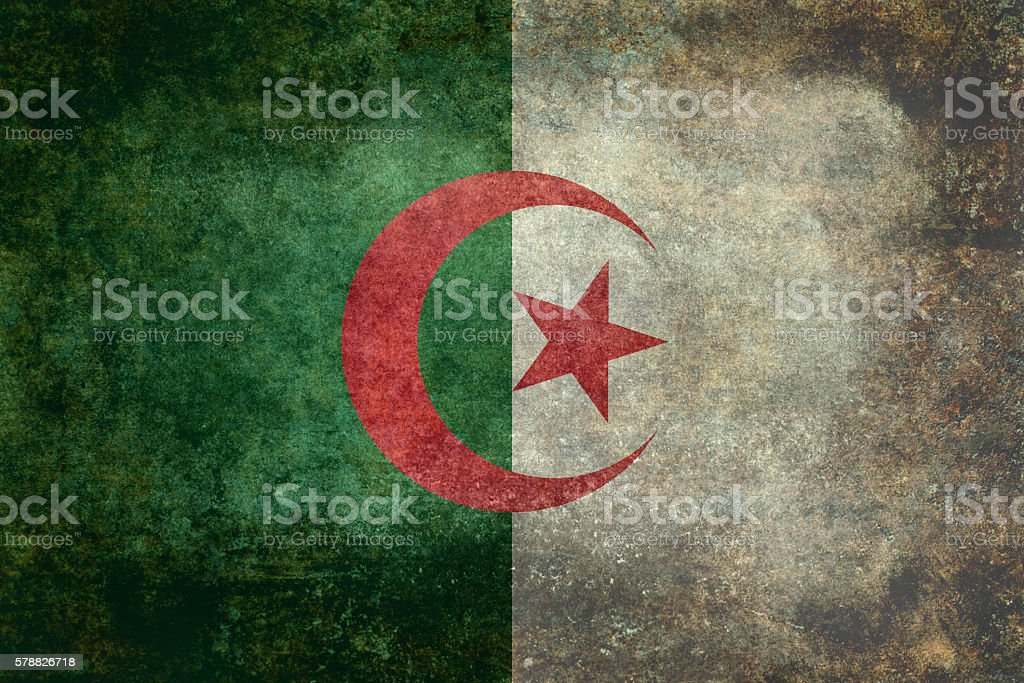 National flag of Algeria with distressed textures vector art illustration