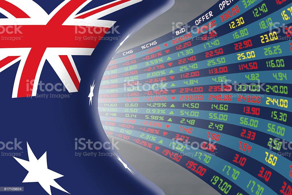 National flag of Australia with stock market display. stock photo
