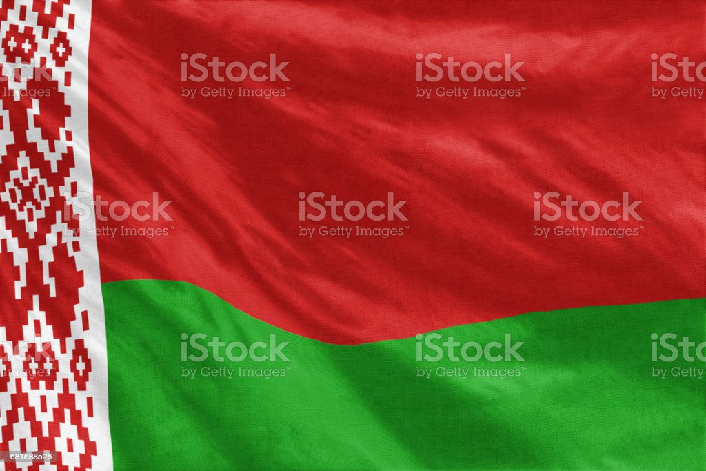 National flag of Belarus full frame close-up stock photo