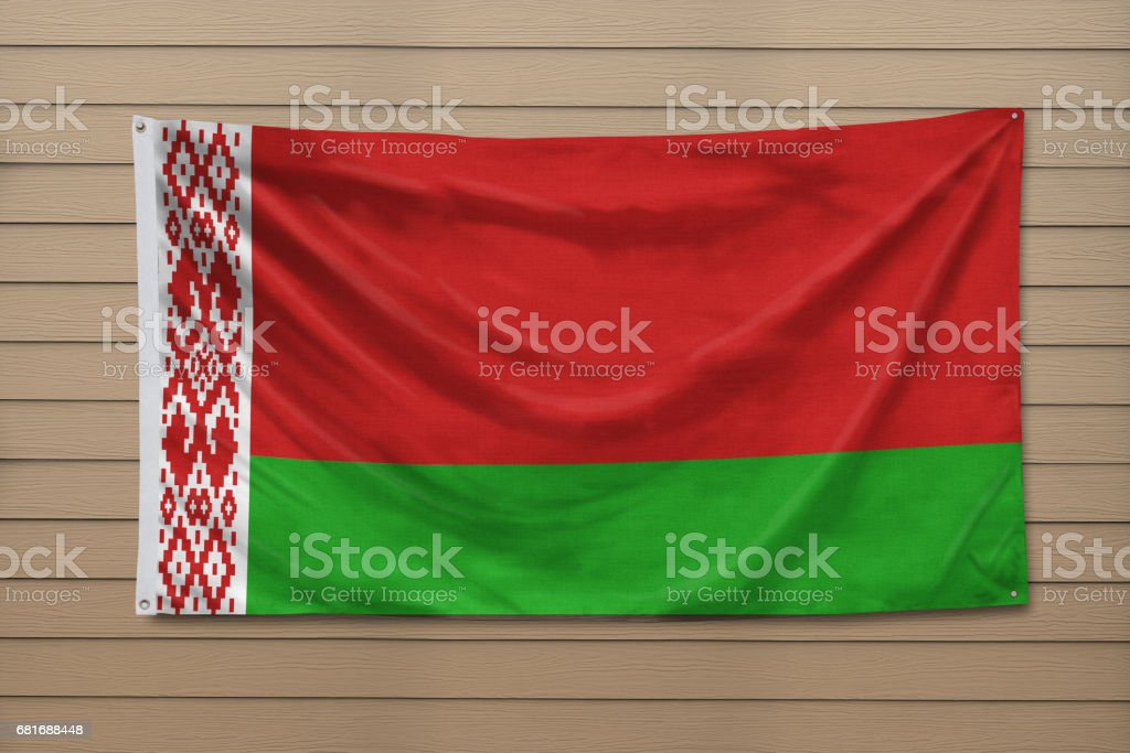 National flag of Belarus hanging on a wall stock photo