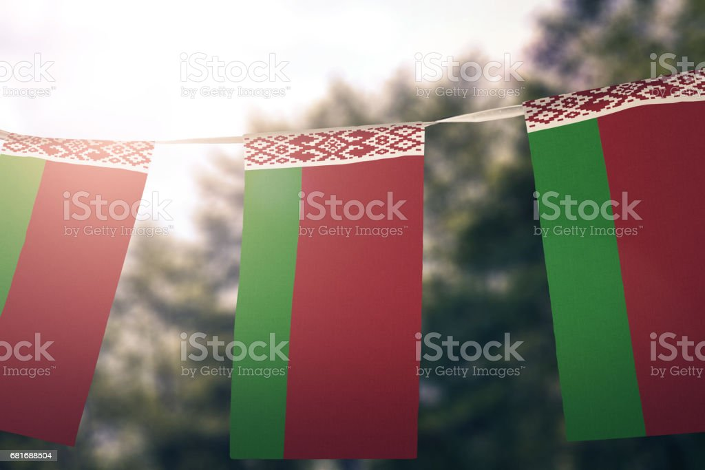 National flag of Belarus pennant stock photo