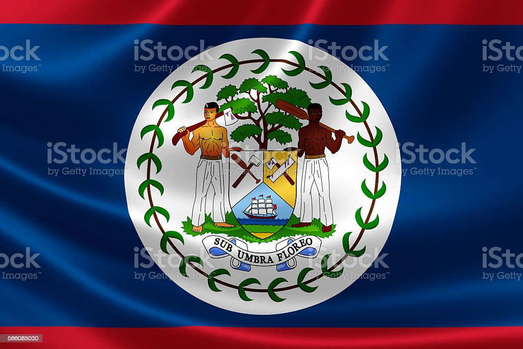 National Flag of Belize stock photo