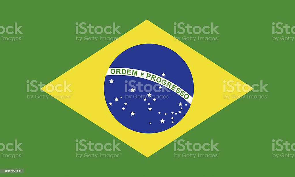 National flag of Brazil featuring blue sphere on gold stock photo