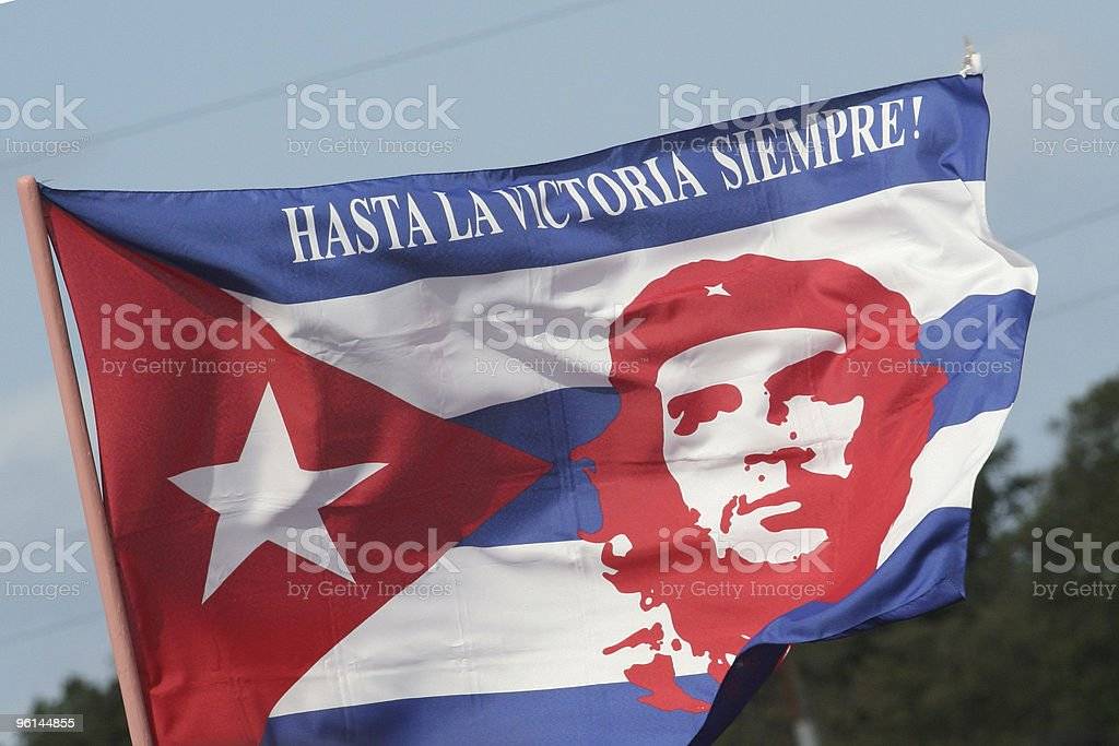 National flag of Che Guevara stock photo