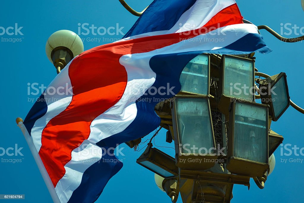 National Flag of Costa Rica in Tiananmen stock photo