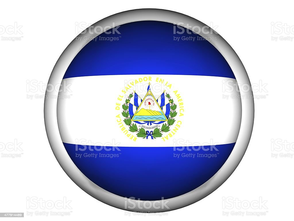 National Flag of El Salvador . Button Style royalty-free stock photo